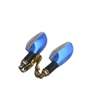 Long Handle 1W 60lm 15-LED Yellow Light Motorcycle Steering Lamps - Blue (12V / 2 PCS)