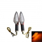 Stiel 1W 60lm 15-LED-Yellow Light Motorrad-Steering-Lampen - Rot (12V / 2 PCS)