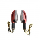 Long Handle 1W 60lm 15-LED Yellow Light Motorcycle Steering Lamps - Red (12V / 2 PCS)