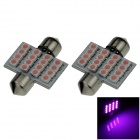 Festoon 31mm 1.6W 130lm 16-SMD 1210 LED Purple Light Car Reading / Roof / Dome Lamps - (12V / 2 PCS)
