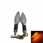 Long Handle 1W 60lm 15-LED Yellow Light Motorcycle Steering Lamps - Silver (12V / 2 PCS)