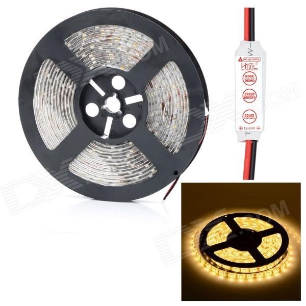 HML Waterproof 72W 14000lm 3300K 300-SMD 5730 LED Warm White Light Strip w/ Mini Controller (12V) цена