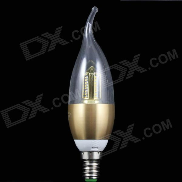 220V E14 4W 300lm 32-3014 SMD LED Warm White Dimmable Candle Light - Golden + Yellow + Multicolored e14 3014 60 smd 7w 470lumen led gold silver chandelier candle light bulb lamp energy saving pure warm white dimmable 220v