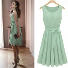 JM1288 Fashionable Chiffon Sleeveless Women's Dress - Green (Size L)