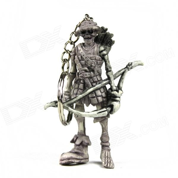 Hunter Skeleton Rubber Keychain - Grey + Silver White