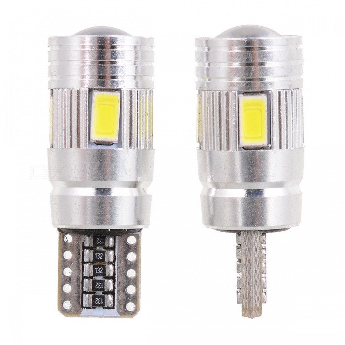 T10 3W 210lm 6-SMD 5630 LED White Light Car Clearance Lamp w/ Lens (DC 12V / 2 PCS) wf90053522 highlight 9005 3w 210lm 1 smd led white light car foglight dc 12v