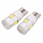 T10 3W 210lm 6-SMD 5630 LED White Light Car Clearance Lamp w/ Lens (DC 12V / 2 PCS)
