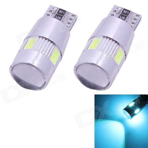 T10 3W 210lm 6-SMD 5630 LED Ice Blue Light Car Clearance Lamps w/ Lens (DC 12V / 2 PCS) 4pcs car w5w t10 led light 48 3014 smd side marker lamps warm white clearance lights bulb dc 12v