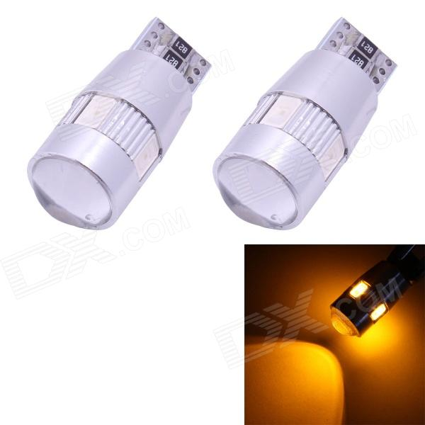 T10 3W 210lm 6-SMD 5630 LED Yellow Light Car Clearance Lamps w/ Lens (DC 12V / 2 PCS) - DXLED Wedget Bulbs<br>Color BIN Yellow Brand N/A Model T10-5630-6smd-JJ Quantity 1 Piece Material Aluminum Color OthersSliver Emitter Type OthersSMD 5630 LED Chip Brand OthersSMD 5630 LED Chip Type SMD 5630 LED Total Emitters 6 Power 3W Wavelength 597~577 nm Theoretical Lumens 270 lumens Actual Lumens 210 lumens Rate Voltage 12V Waterproof Function No Connector Type T10 Application Backup lightLicense plate lightSteering lightHeadlampClearance lampInstrument lampSignal lightIndicator lampTail light Packing List 2 x Car lights<br>