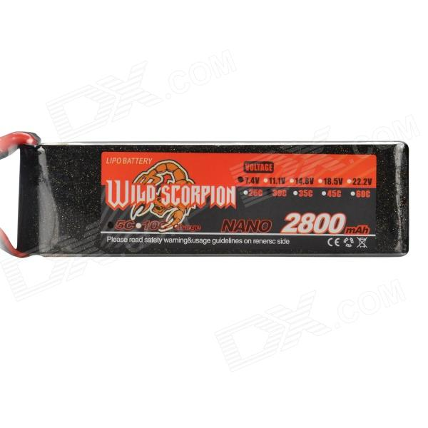 7.4V 2800mAh 30C Replacement Li-Poly Battery for RC Helicopter / Car / Boat + More - Black + Red