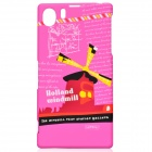UMKU World Style Series Fashionable Protective Plastic Back Case for Sony Xperia Z1 L39H - Deep Pink