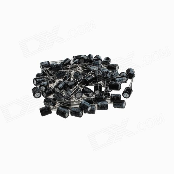 DJDR2 Aluminum Electrolytic Capacitor for DIY Project - Black (100 PCS) maitech 12 x 8mm 63v100uf electrolytic capacitors black 10 pcs