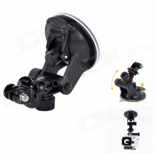 H019 Small Car Suction Cup PC Mount Holder for GPS / 1/4 Camera / Gopro Hero 4/2 / 3 / 3 + - Black toz 360 rotating car mount suction cup holder for gps 1 4 camera black