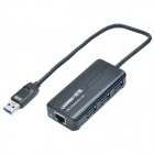 UGREEN 20265 USB 3.0 SuperSpeed Wired Gigabit Adapter w/ 3 Ports USB Hub - Black