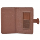 "Protective PU Leather Case for 5.3"" Cellphone - Brown"