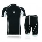 ARSUXEO ARC09-2 Outdoor Sports Cycling Elastic Polyester T-Shirt + Short Pants - Black + White (XL)