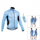 MONTON 1019 Windproof Water Resistant Cycling Polyester Jacket - Sky Blue + Black (L)