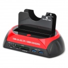 "876-U3C USB 3.0 2.5"" / 3.5"" SATA HDD Docking Station w/ Card Reader - Black + Red"