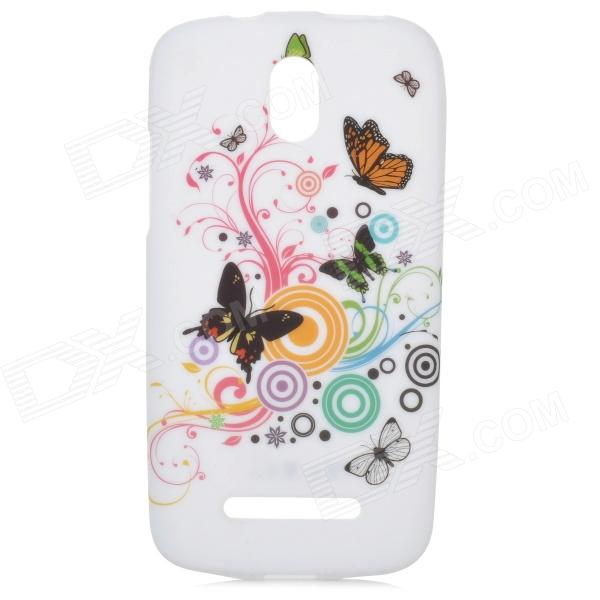 YI-YI Butterfly Pattern Protective TPU Case for HTC Desire 500 butterfly bling diamond case