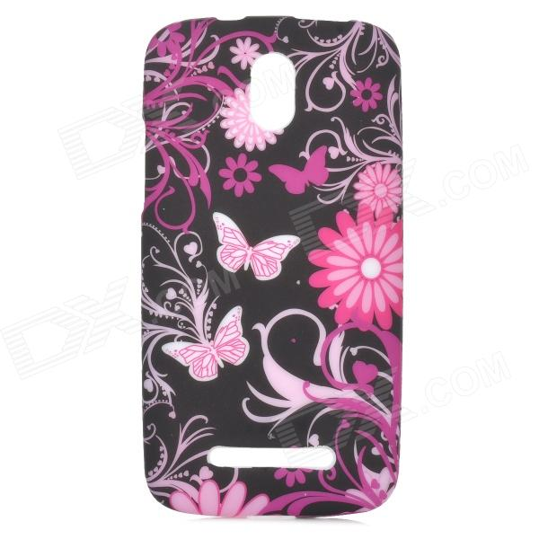 Butterfly Flowers Pattern Protective TPU Case for HTC Desire 500 butterfly bling diamond case