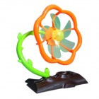 Plum Blossom Tree Style 5-Blade 2-Mode USB Fan - Orange + Brown + Green