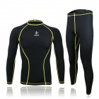 ARSUXEO ARC09-1 Outdoor Cycling Elastic Polyester Long-Sleeve Shirt + Pants - Black + Yellow (XXL)