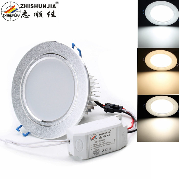 ZHISHUNJIA 10W LED 3-Color Bin Selectable Ceiling Light - Silver