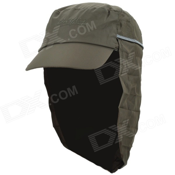 OUTFLY A13008 Outdoor Polyester Sunproof Hat / Cap w/ Removable Skirt for Men - Army Green outfly b12038 men s uv protection visor cap hat w detachable mask deep blue
