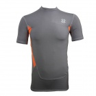 Outdoor Sports Cycling Elastic Polyester Tight Short T-shirt for Men - Grey + Orange (XL)