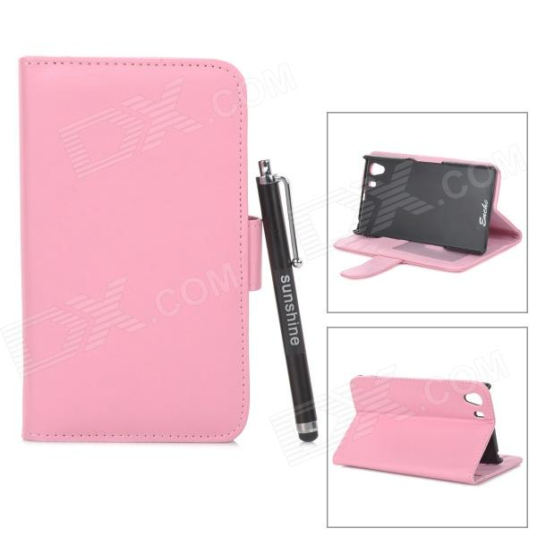 Protective PU Leather Case w/ Stylus Pen for Sony Xperia Z1 / Xperia i1 / L39H - Light Pink