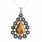 HY1 Stylish Water-drop Shaped Tiger's-eye + Rhinestone Pendant Necklace - Yellowish Brown + Black