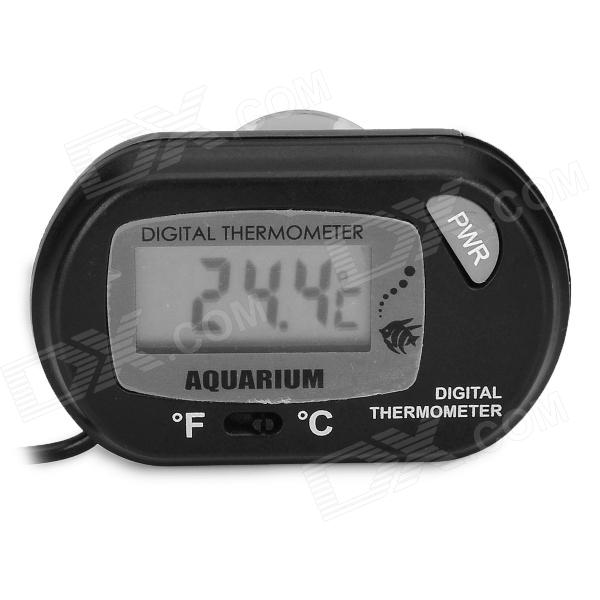 Digital Aquarium Fish Tank Thermometer - Black (1 x LR44)