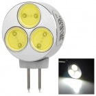 JRLED G4 3W 130lm 7000K 3-LED COB White Car Reading Lamp - Silver + Yellow (12V)