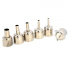 DIY 2MM / 3MM / 4MM / 6MM / 9MM / 12MM Nozzle for 850 / 852 / 952 Hot Air Gun - Silver (6PCS)