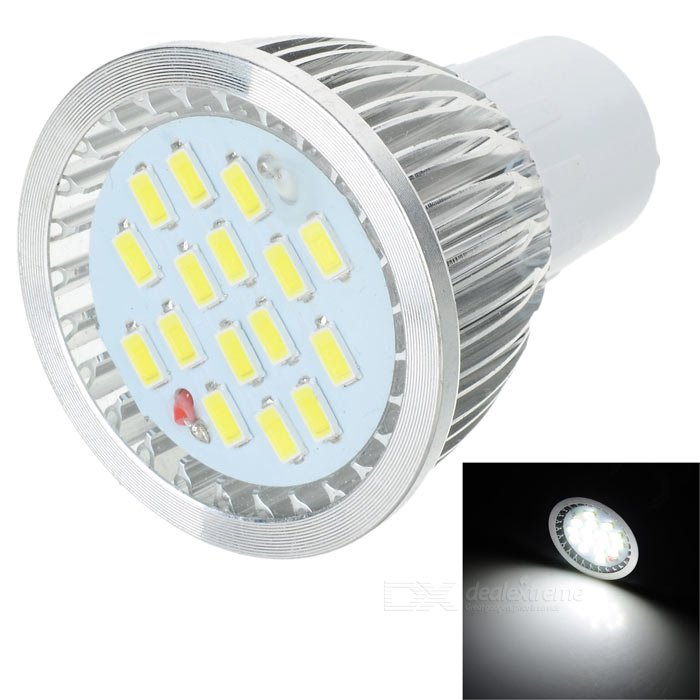 lexing LX-SD-057 GU10 6W 420lm 7000K 15-5730 SMD LED White Light Lamp - White + Silver (AC 220~240V) lexing lx qp 20 e14 6w 470lm 3500k 15 5730 smd led warm white light dimmable lamp ac 220 240v
