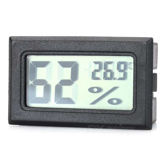 Mini Thermometer for Insect Scorpion Cage, Refrigerator - Black