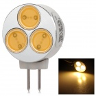 JRLED G4 3W 130lm 3300K 3-LED COB Warm White Car Reading Lamp - Silver + Yellow (12V)