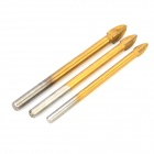 4MM / 5MM / 6MM Cross Alloy Hole Saw Drill - Golden (3 PCS)
