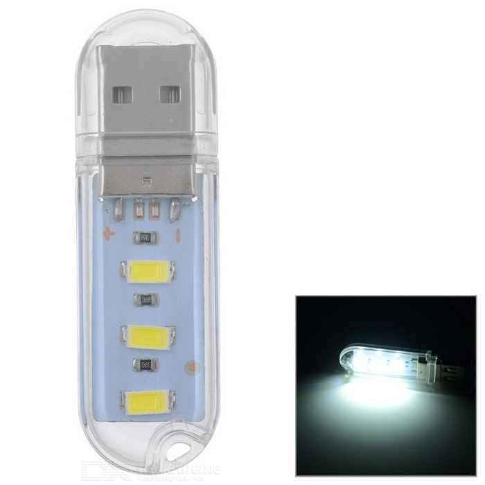 PL PL-03 3-LED White Light USB Night Lamp - Transparent + Yellow