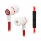 MAIBOSI Fashion Stylish In-Ear Earphones w/ Microphone - White + Red + Black (3.5mm Plug)