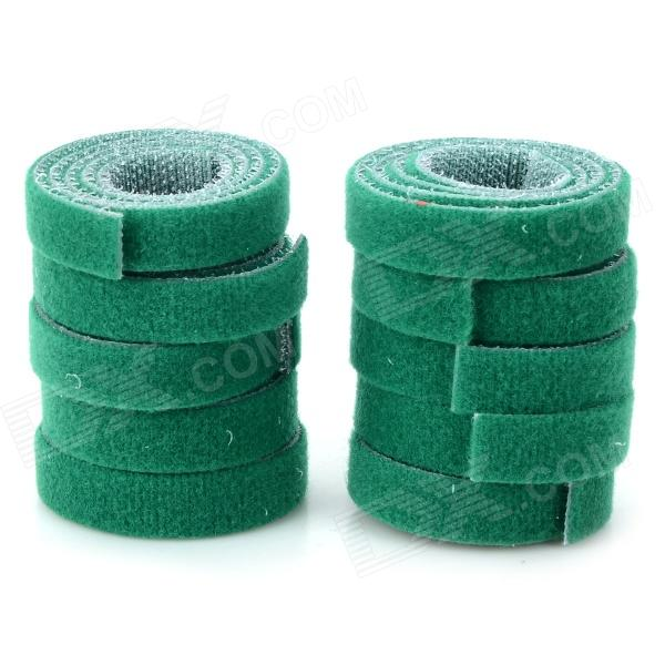 Nylon Strap Power Wire Management Cable Tie Organizer - Green + White (10 PCS)