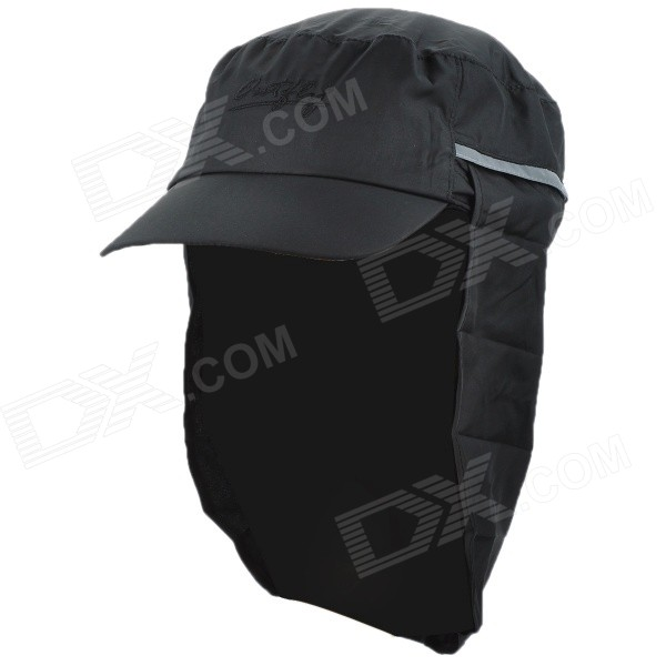 OUTFLY A13008 Outdoor Polyester Sunproof Hat / Cap w/ Removable Skirt for Men - Black outfly b12038 men s uv protection visor cap hat w detachable mask deep blue