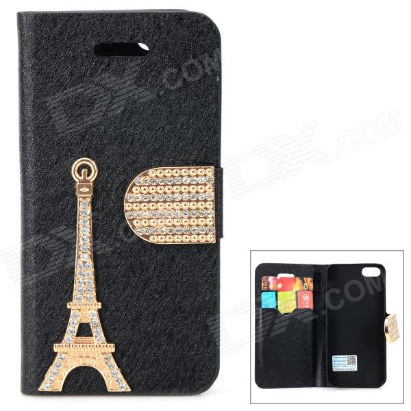 PUDINI WB-I5S Rhinestone Eiffel Tower Style Protective PU Leather Case for IPHONE 5 - Black + Golden wb 1215 casual style magic pu dollar wallet black green