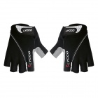 LYCCO Outdoor Cycling Mesh Lycra Half-Finger Gloves - Black (M)