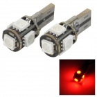T10 1W 30lm 700nm 5-5050 SMD LED Red Light Car Reading Lamps - White + Black (2 PCS / 12V)