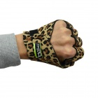 DAVS Leopard Pattern Outdoor Sports Anti-Skid Breathable Half Finger Gloves w/ Iron Protection Plate