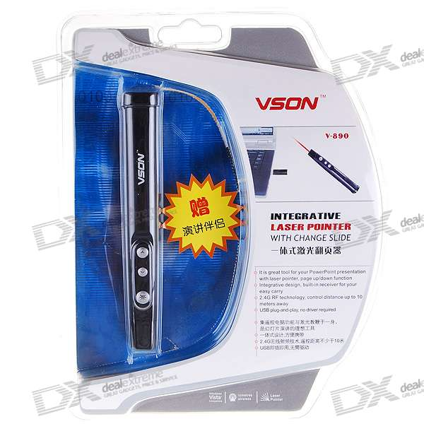 VSON V-890 2.4GHz Wireless USB RF Presenter with Red Laser Pointer (1*AAA)