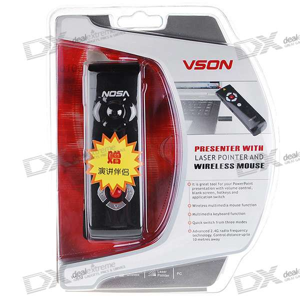 VSON V-910 2.4GHz RF Wireless Presenter with Laser Pointer and Remote Mouse (2*AAA)