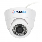 "YanSe YS-632DW 1/3"" CCD 420TVL Infrared Dome CCTV Camera w/ 24-LED Night Vision - White"