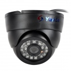 "YanSe YS-632CCB 1/4"" CMOS 700TVL CCTV Dome Camera w/ IR-Cut / 24-LED Night Vision - Black"